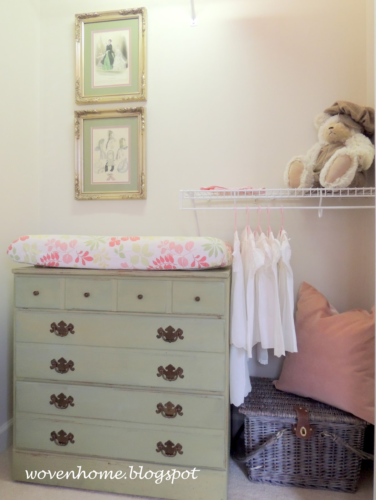 I Tackled A Few More Painting Projects To Complete The Nursery Closet  Including This Dresser Turned Changing Table, And Whitewashing This Old  Picnic Basket.