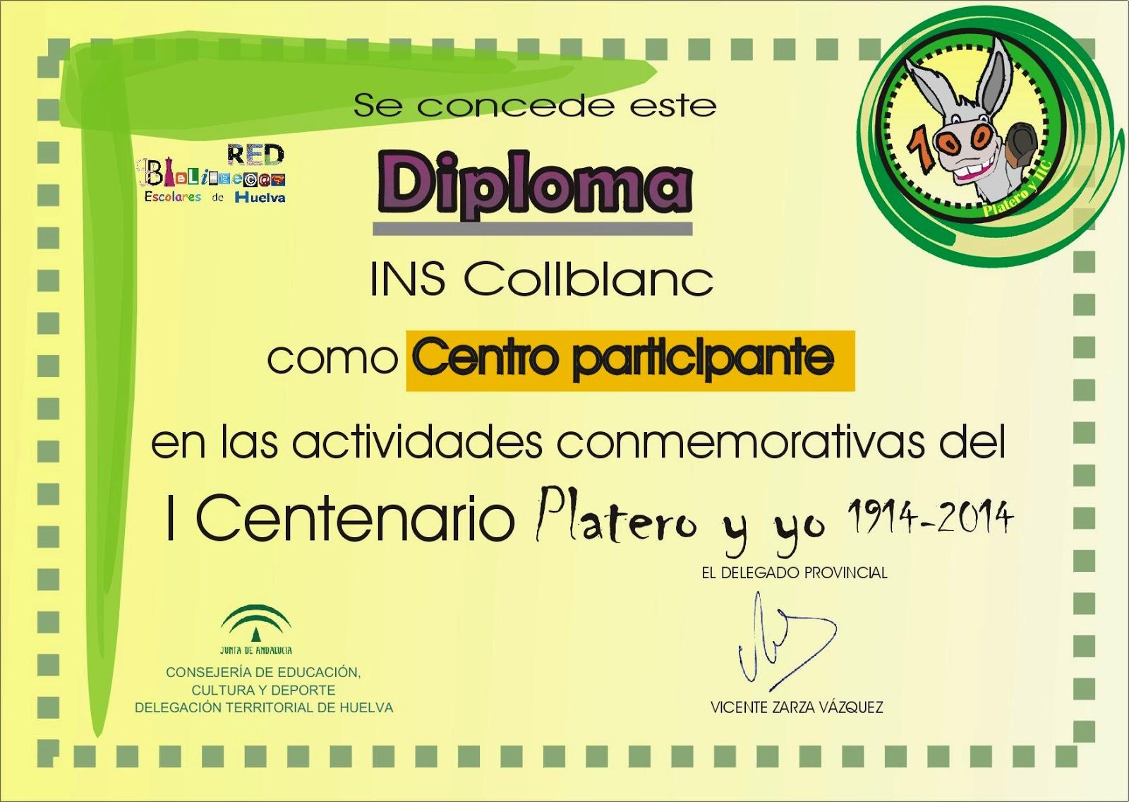 Diploma participación proyecto Platero y TIC