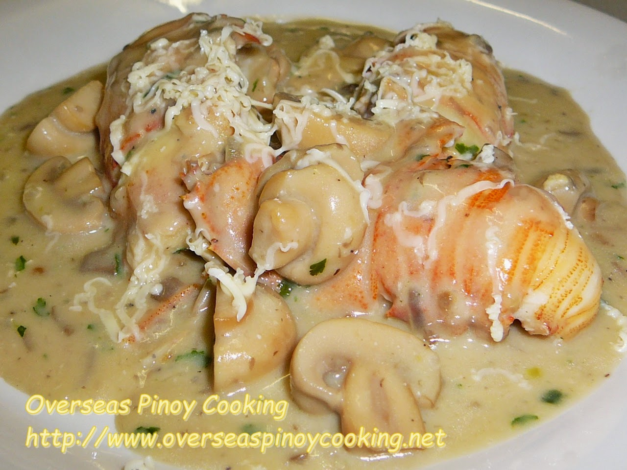 Slipper Lobster, Pitik with Cheesy Mushroom Sauce