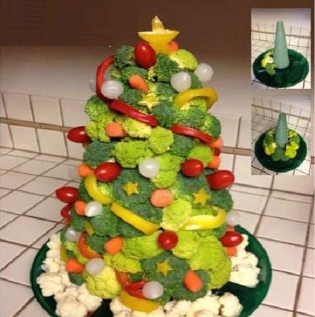 Platos con vegetales decorados para navidad for Decoracion con verduras