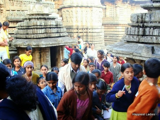crowded Halebeedu temple
