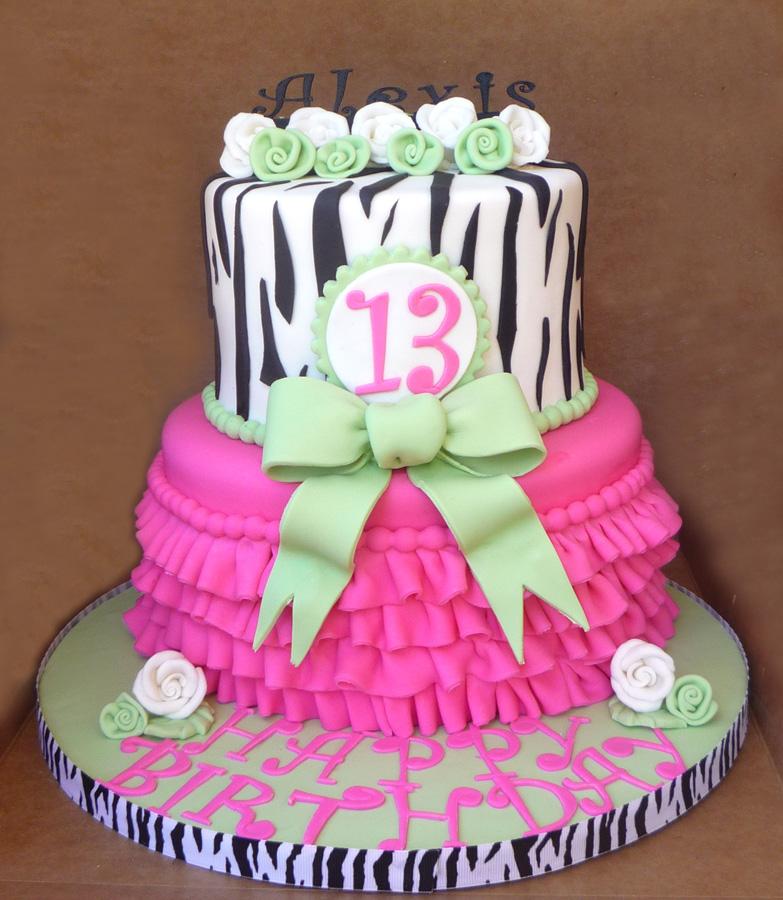 Cakery Creation Pink And Lime Green Ruffle Cake In Daytona Beach