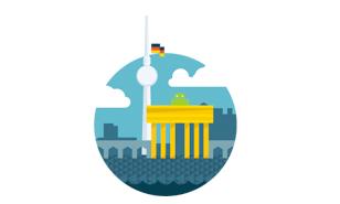 Logo mit dem Brandenburger Tor und dem Fernsehturm von Berlin darauf
