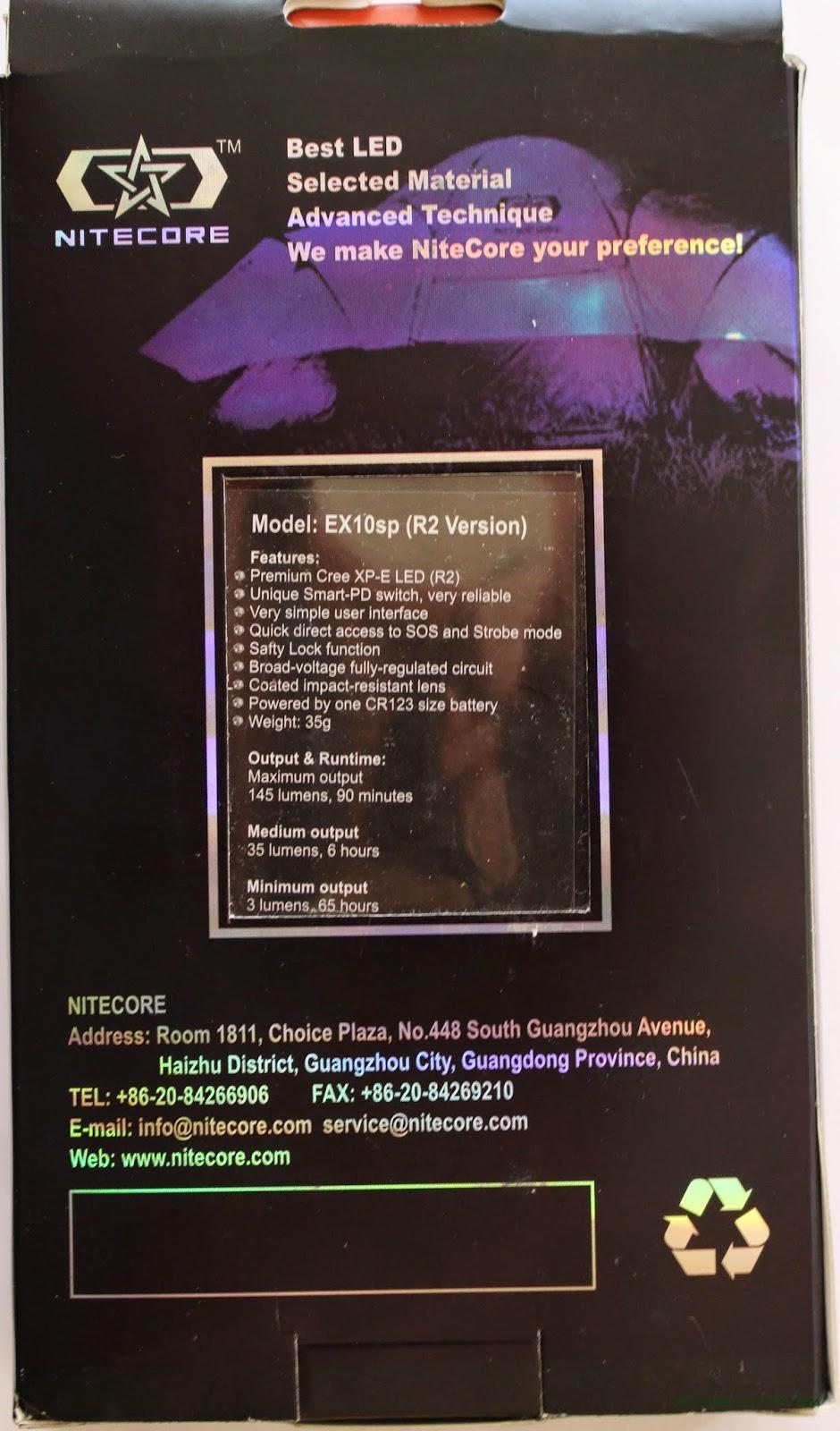 Nitecore Ex10 1xCR123A Flashlight : Box 2