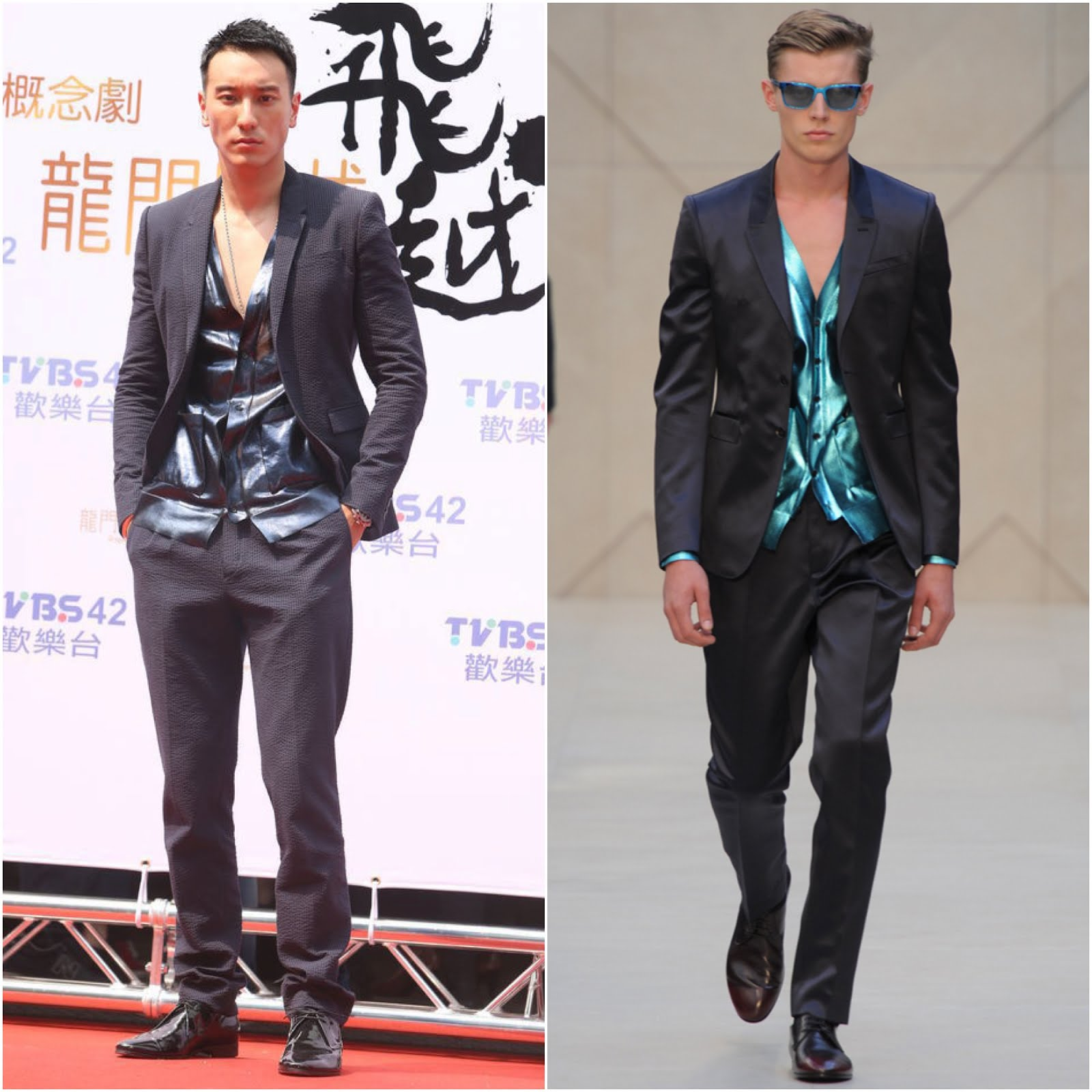 00O00 Menswear Blog Wang Yang Ming [王阳明] in Burberry Prorsum seer suckle suit and foil coated metallic cardigan - Promotional appearance in Taiwan 王阳明高温艳阳