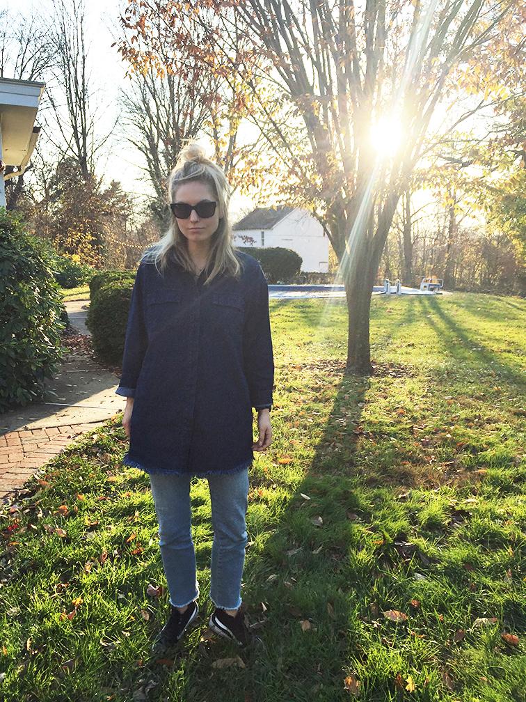 Shore Projects watch, Raen Garwood sunglasses, Vans leather high top sneakers, Frame denim jeans, Need Supply dark denim top dress