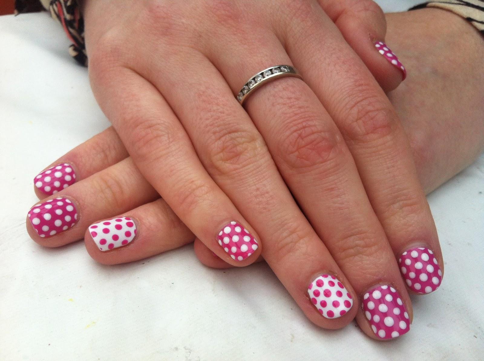Nail Art Designs Using Shellac : Brush up and polish cnd shellac nail art pink polka