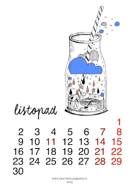 *kalendarz do druku* miesiąc LISTOPAD 2015