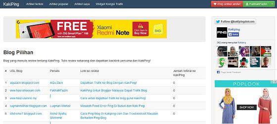 KakiPing com Laman Agregator Untuk Blogger Malaysia