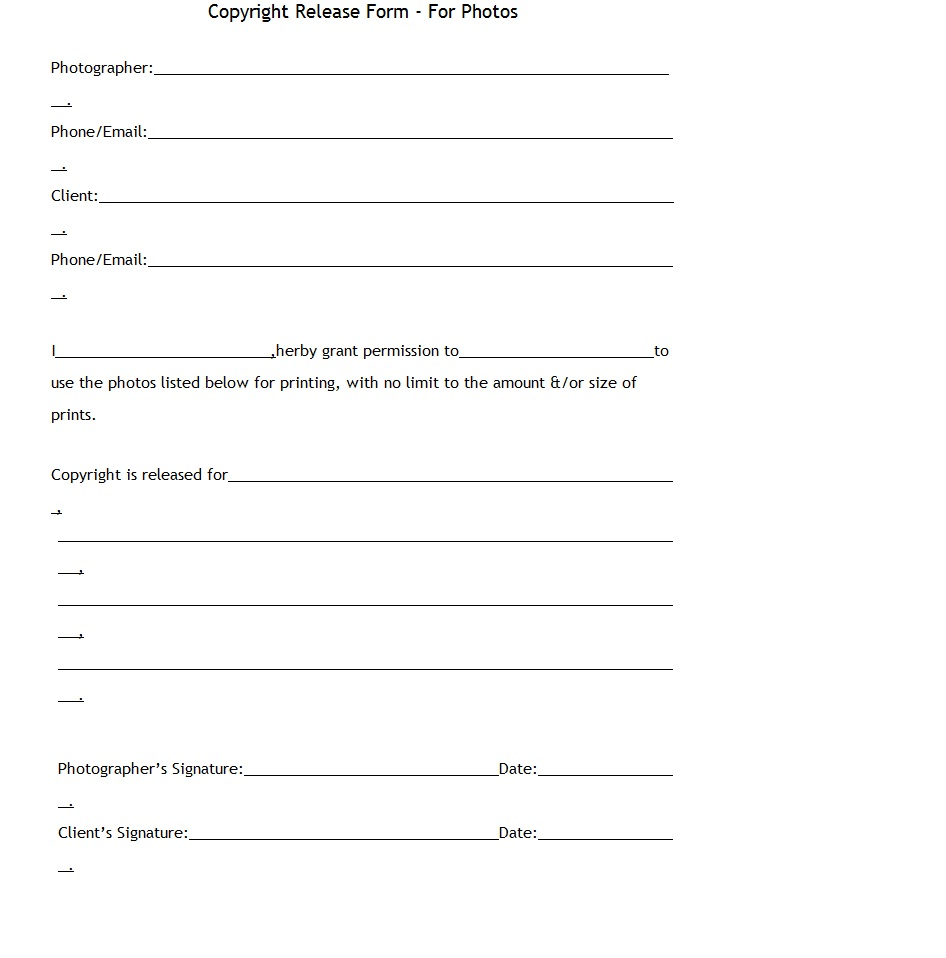 Blank Copyright Release Form Pictures to Pin PinsDaddy – Photo Copyright Release Forms