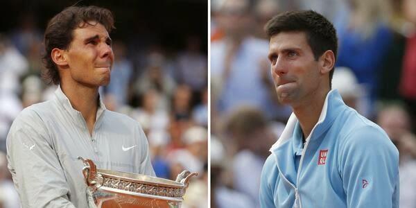 Nadal, Djokovic, llorando