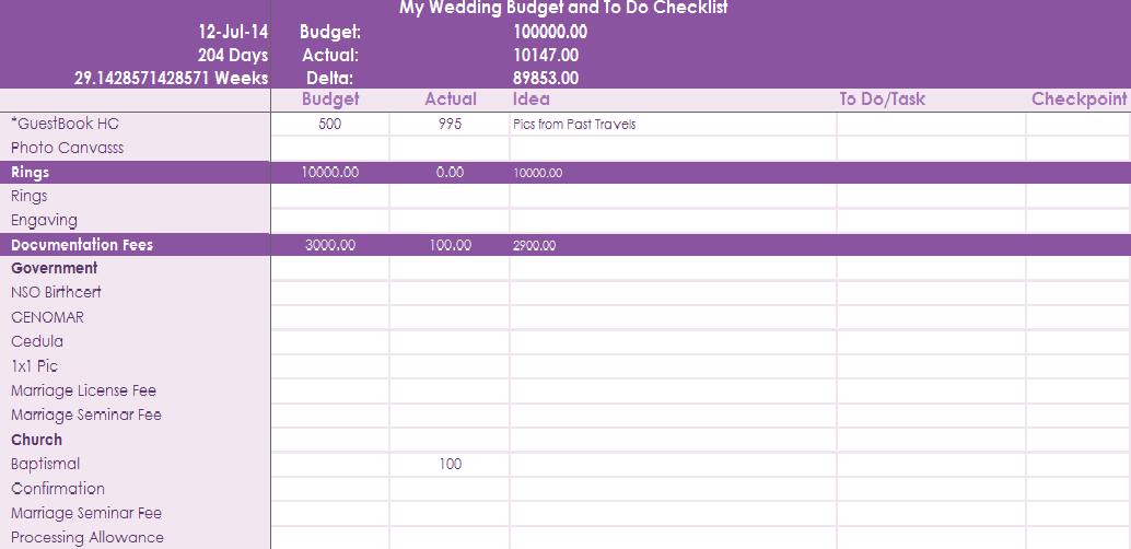 i was the one who came up with that excel file design because i wanted my own all in one wedding budgettask planner that i can work comfortably with