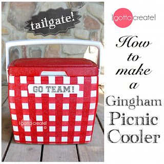 Adorable upcycled cooler! How to make a Gingham Picnic Cooler for tailgating and camping.  | Tutorial at I Gotta Create!