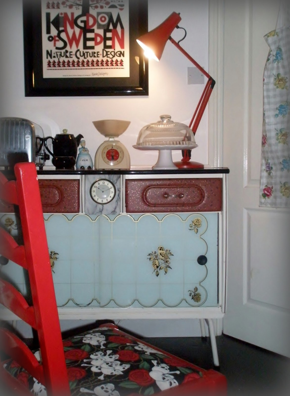 Vintage Formica Red Kitchen Table