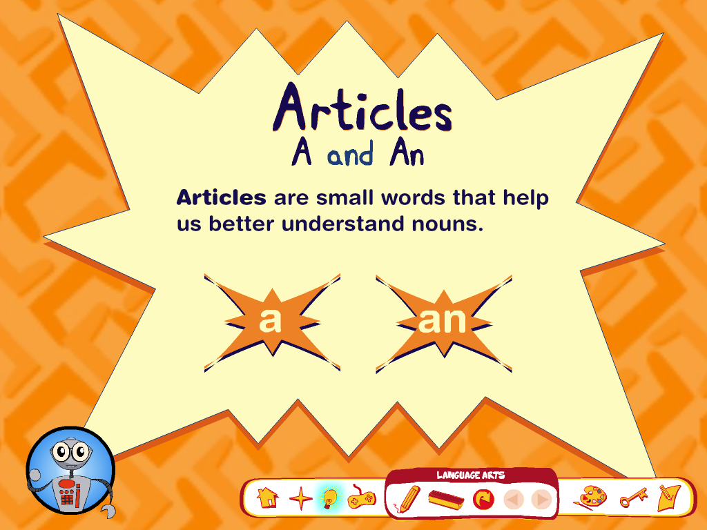 Worksheet Articles A An And The articles a giveaway if you click the robot get verbal presentation then by clicking game controller students can practice using articles