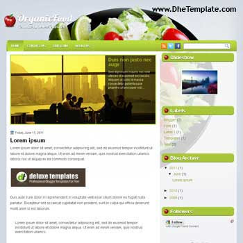 Organic Food blogger template. food and recipes template blogger
