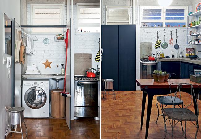 Cozinha rustica, simples e com lavanderia embutida e ...