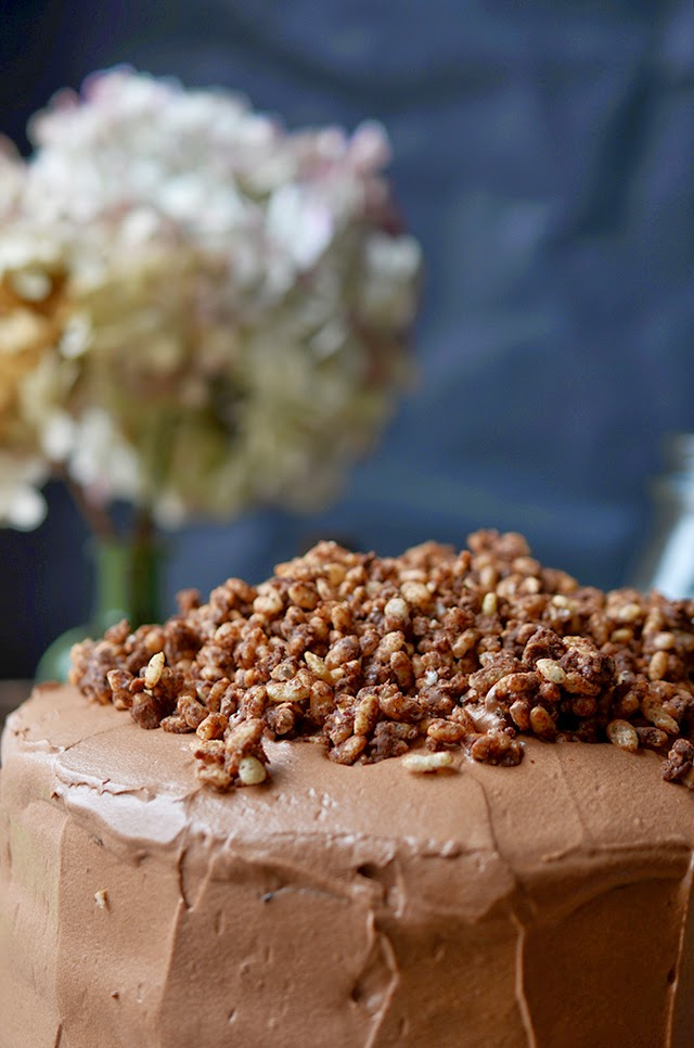 Heart of Gold: Devils' Food Cake with Hazelnut Crunch