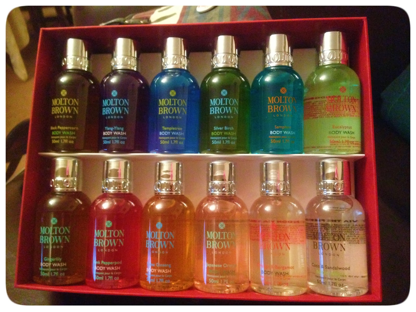 shy strange manic molton brown body wash gift set look at all the pretty colours the top rom left to right black peppercorn ylang ylang templetree silver birch samphire eucalyptus