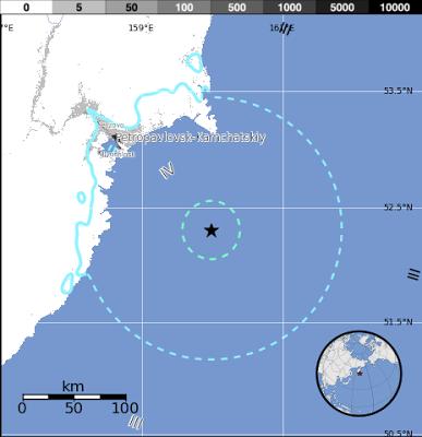 Epicentro sismo Península Kamchatka, 20 de Mayo 2013