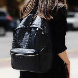 Saint Laurent by Rive Droite City Backpack in crocodile embossed leather.