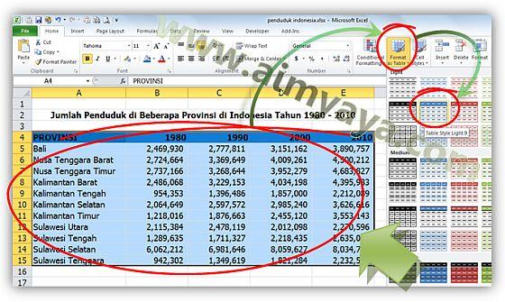 Gambar: Memilih Format Tabel di Microsoft Excel