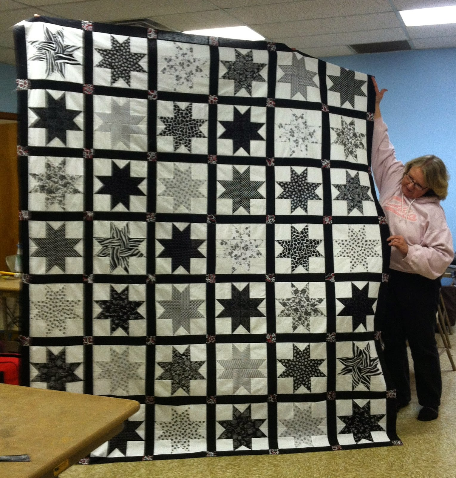 Scrappy Star Quilt, Black and White Quilt, Sashing and Cornerstones