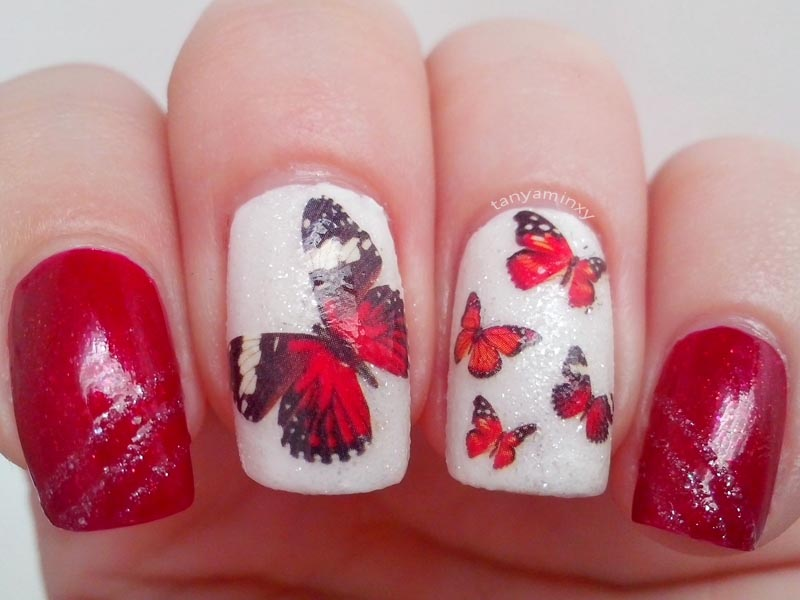Red and white sparkle butterflies water decals bps nails nail art nail design mani