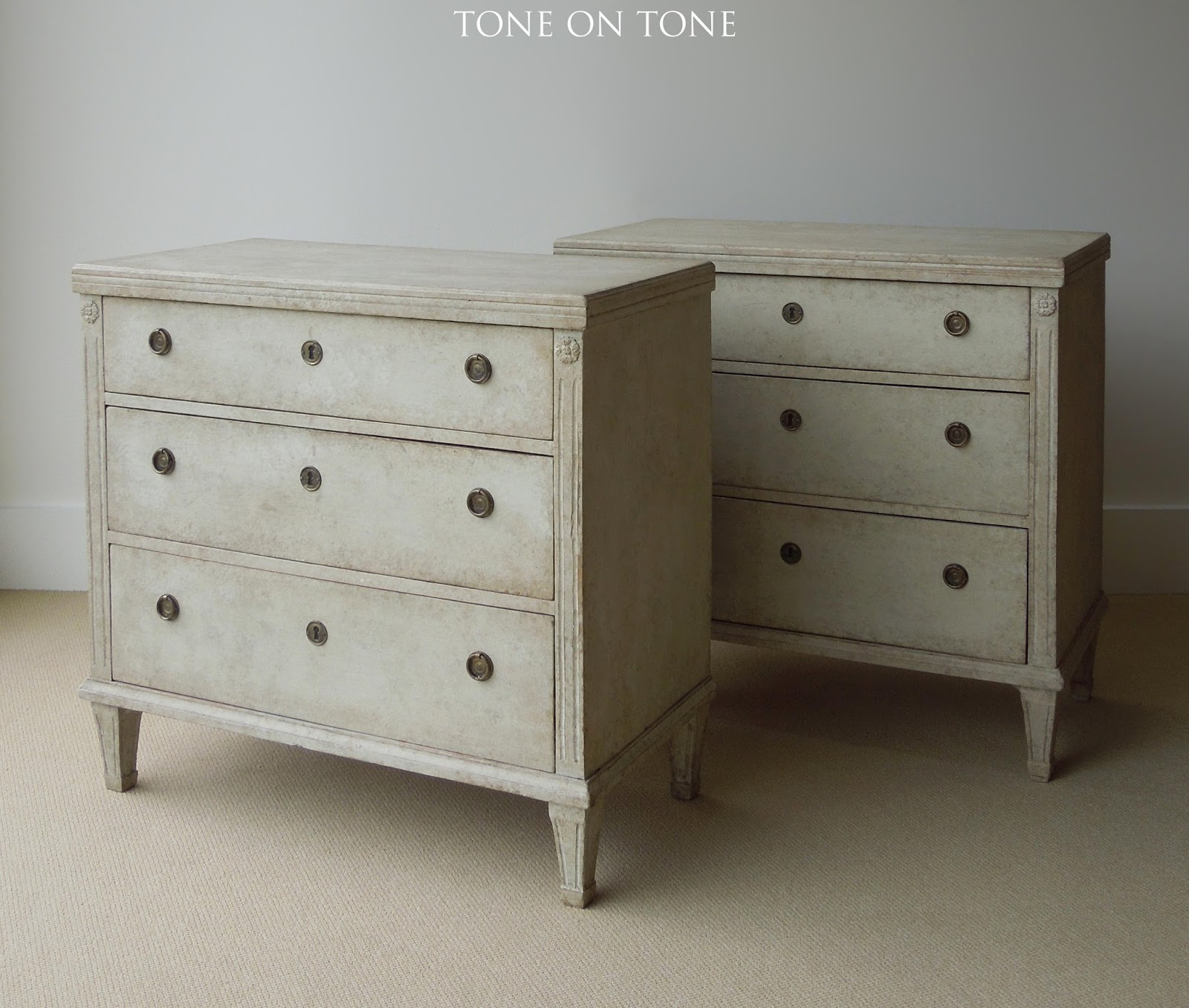 Notice The Graduated Drawers On This Pair Of Gustavian Style Chests From The  1890   1900s.