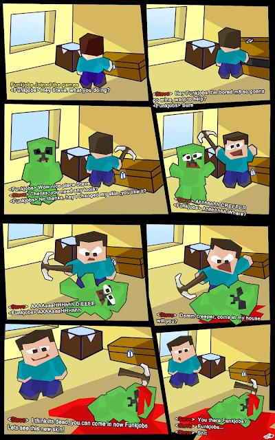 Minecraft comic strip board steve friends new skin