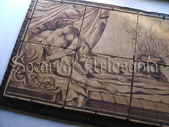 mural de temática erótica renacentista sobre tabla de madera para cabezal de cama