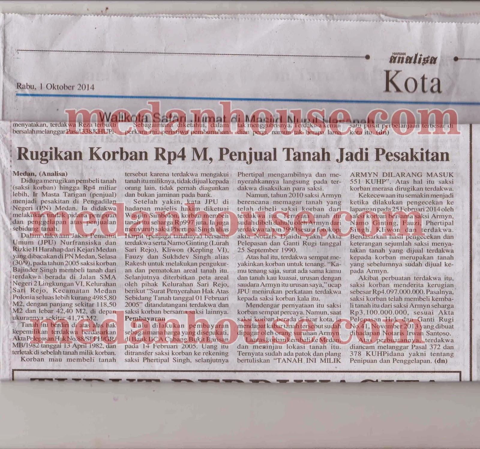 klipping koran analisa - kasus penipuan