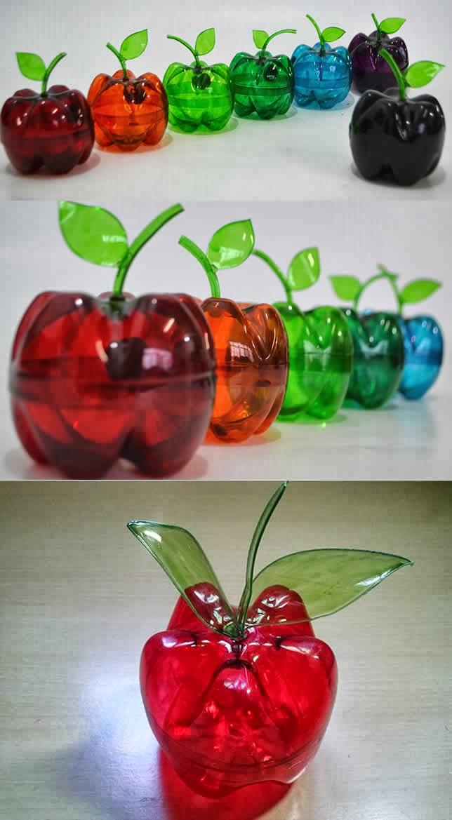 Muitas vezes Como fazer maçã de garrafa PET » Artesanatos Reciclagem ID87