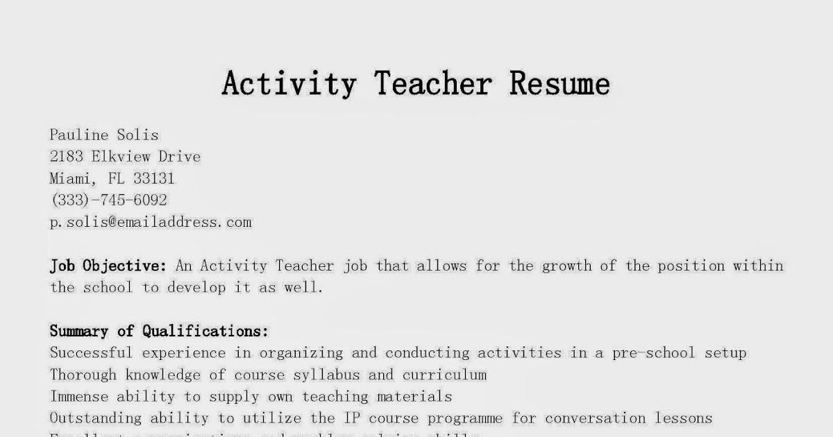 resume samples  activity teacher resume sample