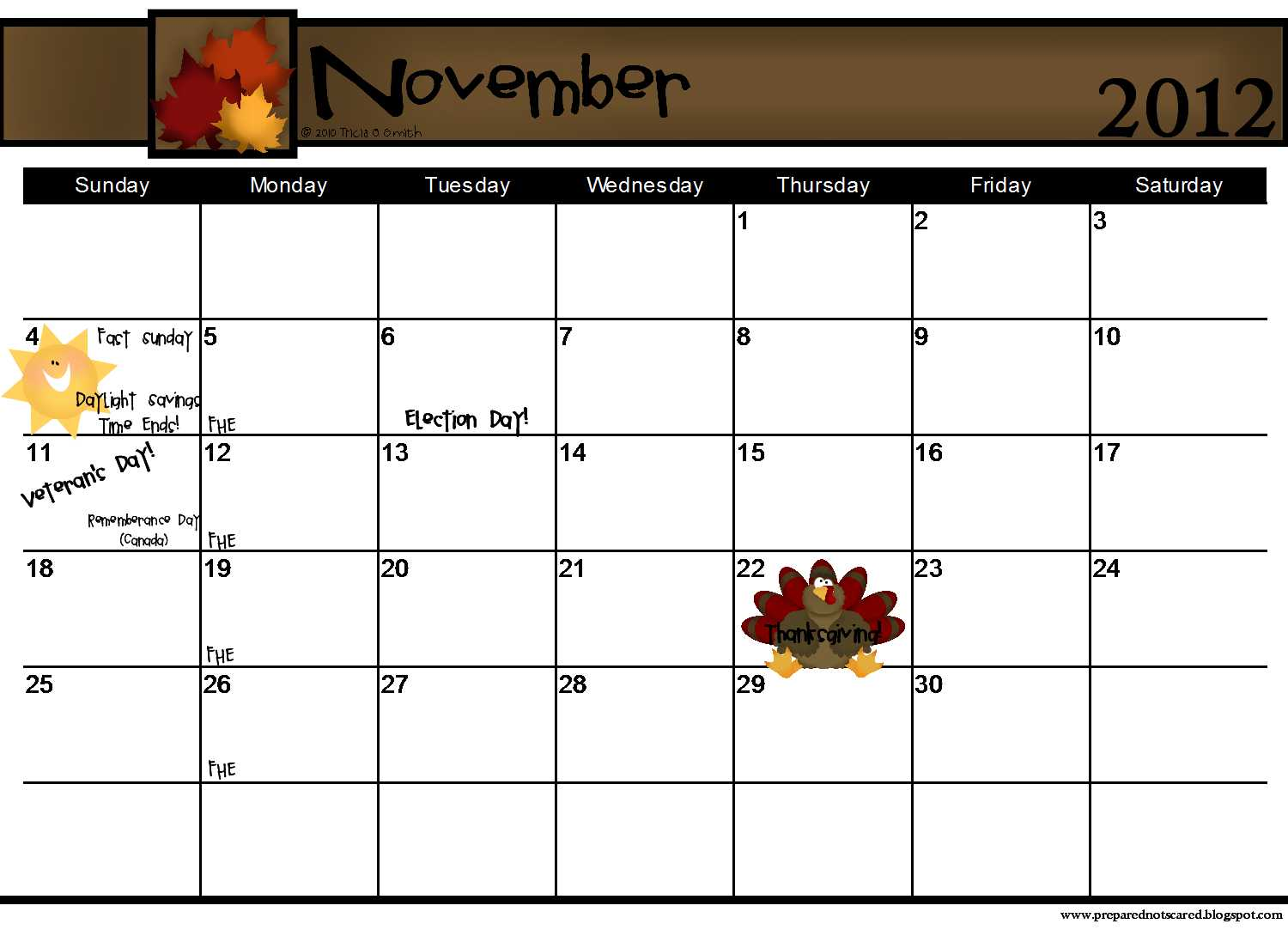 November 2012: Prepared NOT Scared!: The 2012 Calendars Are Here