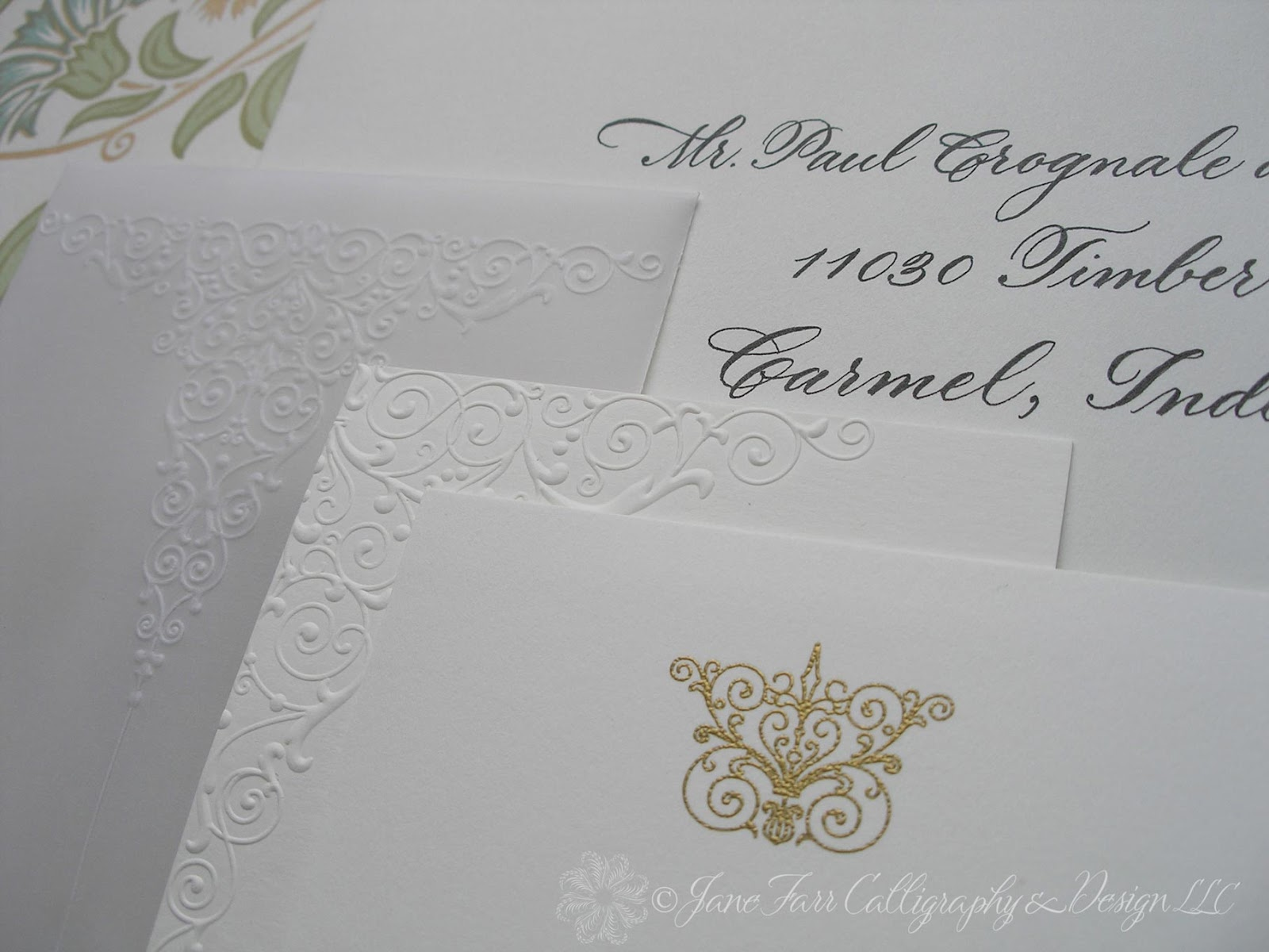 Wedding Calligraphy by Jane Farr: Vera Wang Embossed Wedding Invitations