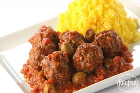 When the meatball is very brown and slightly crisp remove from the heat and drain on a Kofta with Green Olives Recipe