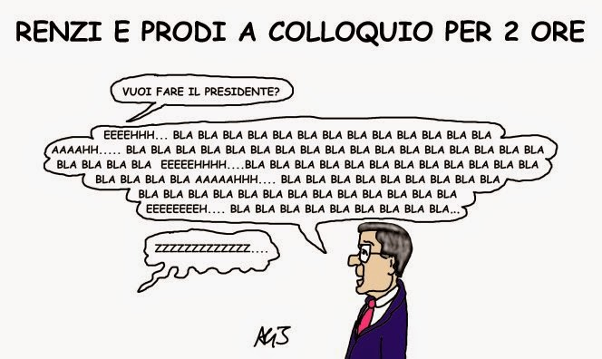 Renzi, Prodi, presidenza, vignetta, satira