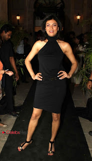Sushmita Sen Pictures in Black Dress at The Gallery 7 Art Gallery Launch ~ Celebs Next