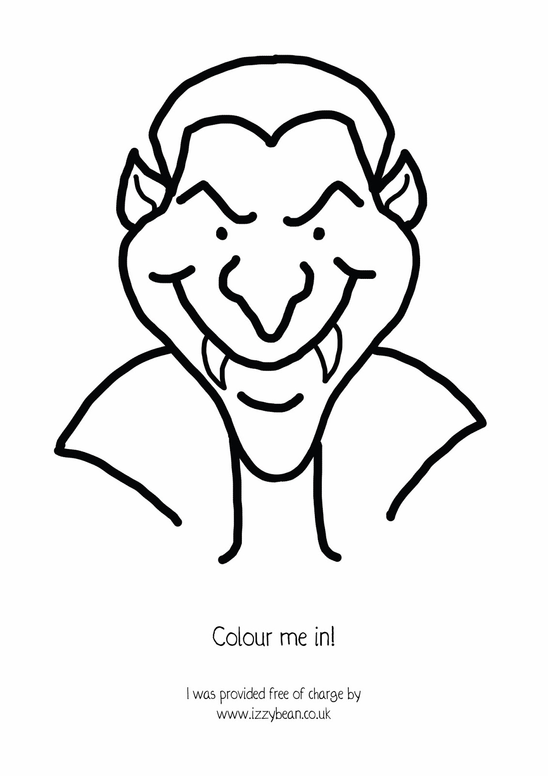 izzy bean illustrations step by step halloween dracula vampire monster with free colouring sheet for kids - Drawing Sheet For Kids