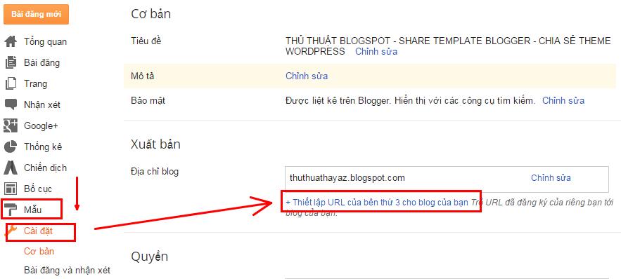 Hướng dẫn cách trỏ tên miền cho Blogspot của Blogger