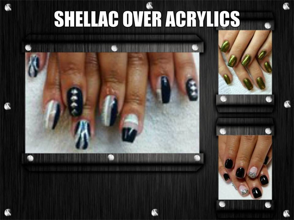 Sculpted acrylic nails Shellac French manicure VIP status sliver French in lilac