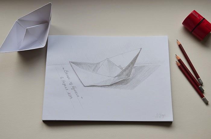 Рисунок, карандаш, бумажный кораблик, Ольга Граф
