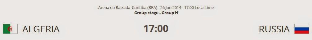 Algeria vs. Russia Live FIFA WORLD CUP 2014 on 26 Jun 2014