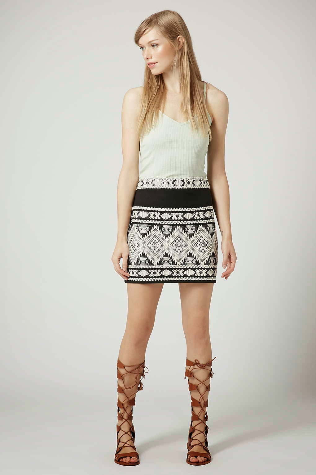 topshop black white pattern skirt