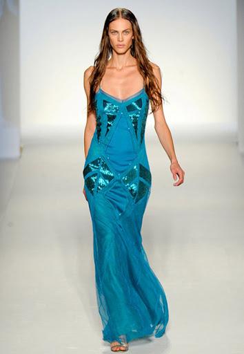 Двойна синя рокля на презрамки дизайнер Алберта ферети