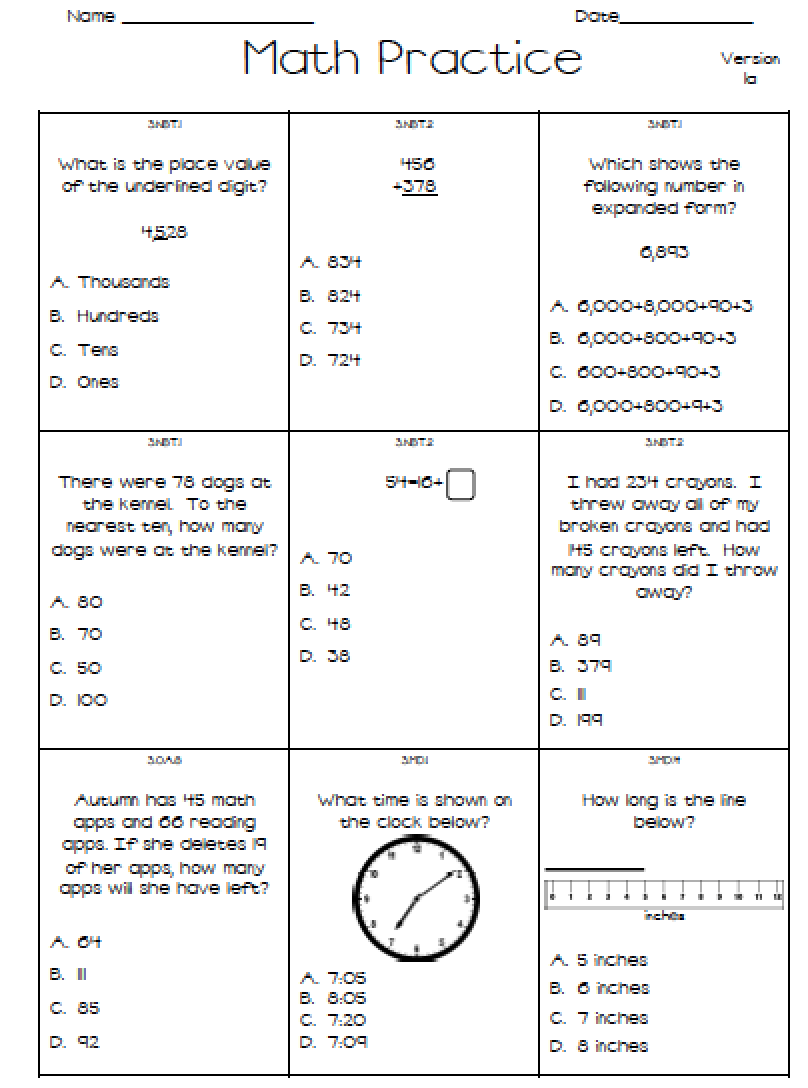 Punchy image throughout 3rd grade math test printable
