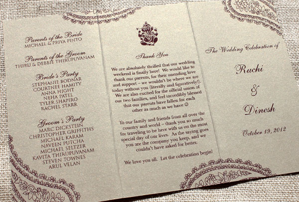 Hindu Wedding Ceremony Program | Blush Paperie