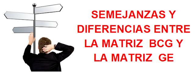 SEMEJANZAS Y DIFERENCIAS ENTRE LA MATRIZ  BCG Y LA MATRIZ  GE
