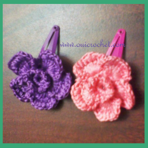 Crochet Rose Hair Clip Pattern : Crochet Pattern, Crochet Flowers, Crochet Hair Clips, Crochet Hair ...